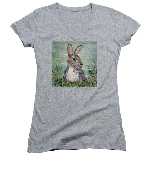Bunny Rabbit Women's V-Neck T-Shirt