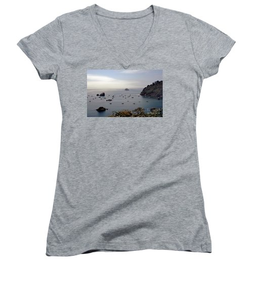 Women's V-Neck T-Shirt (Junior Cut) featuring the photograph Busy Harbor by Sharon Elliott