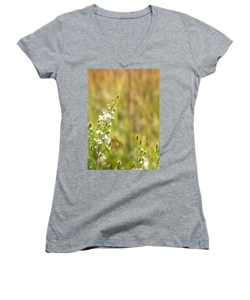 Butterfly In A Field Of Flowers Women's V-Neck (Athletic Fit)