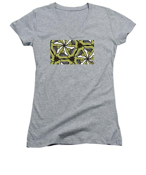 Women's V-Neck T-Shirt (Junior Cut) featuring the digital art Cat / Shoe / Rose by Elizabeth McTaggart