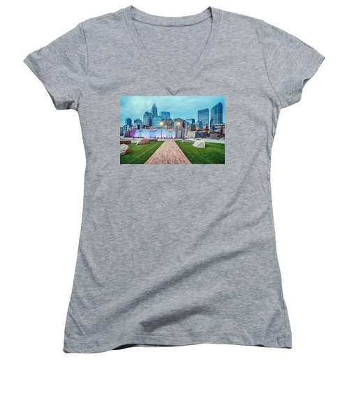 Charlotte City Skyline In The Evening Women's V-Neck