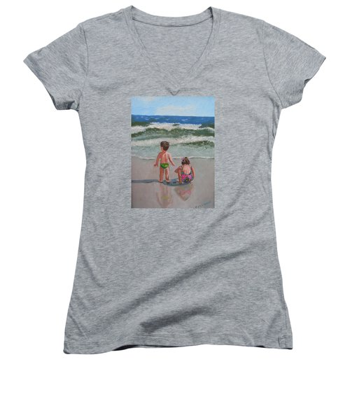Children On The Beach Women's V-Neck