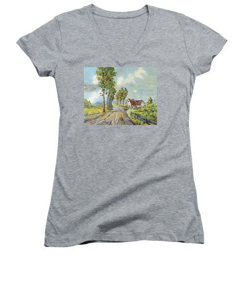 Cottage On Poplar Lane Women's V-Neck T-Shirt (Junior Cut)
