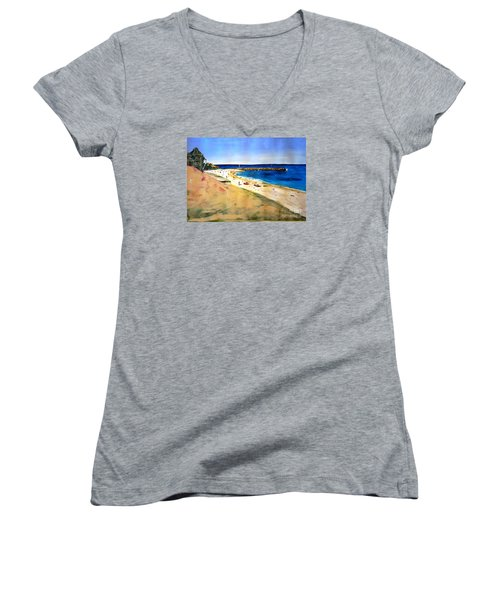 Cottesloe Beach Women's V-Neck T-Shirt (Junior Cut) by Therese Alcorn