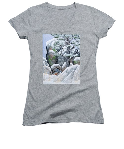 Women's V-Neck T-Shirt (Junior Cut) featuring the painting Cozy Couple by Jennifer Lake