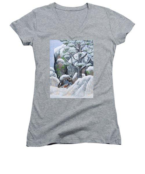 Cozy Couple Women's V-Neck T-Shirt (Junior Cut) by Jennifer Lake