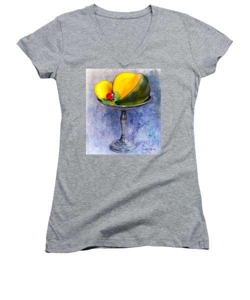 Cut Mango On Sterling Silver Dish Women's V-Neck