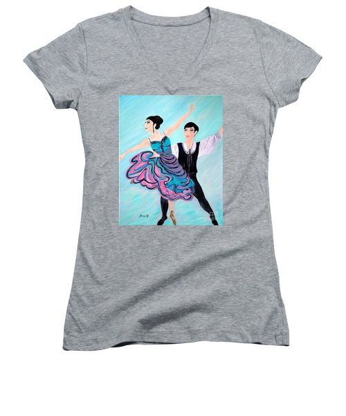 Women's V-Neck T-Shirt (Junior Cut) featuring the painting Dance. Inspirations Collection. by Oksana Semenchenko