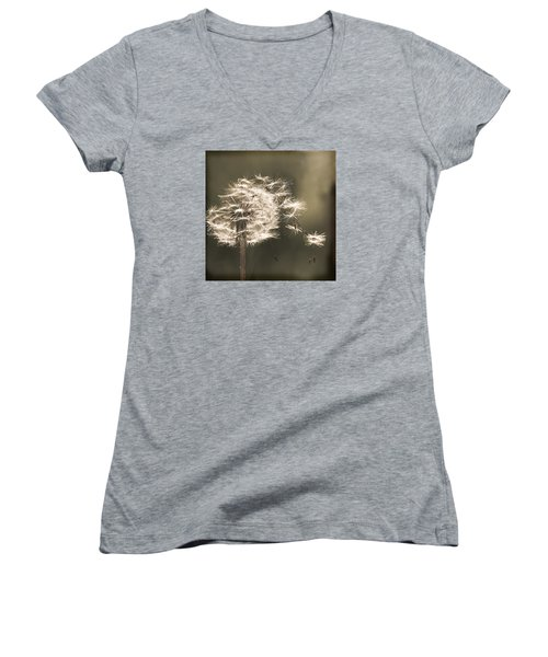Women's V-Neck T-Shirt (Junior Cut) featuring the photograph Dandelion by Yulia Kazansky