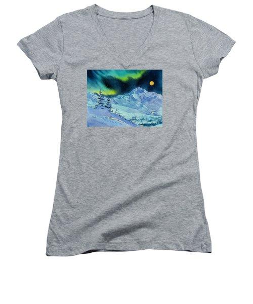 Denali Night Women's V-Neck T-Shirt (Junior Cut) by Teresa Ascone