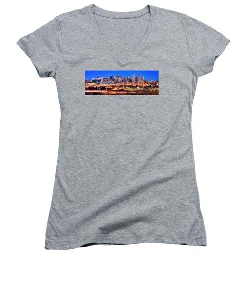 Women's V-Neck T-Shirt (Junior Cut) featuring the photograph Denver Skyline At Dusk Evening Color Evening Panorama Broncos Colorado  by Jon Holiday