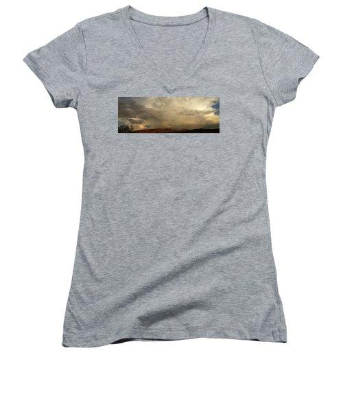 Desert Storm Women's V-Neck T-Shirt (Junior Cut) by Chris Tarpening