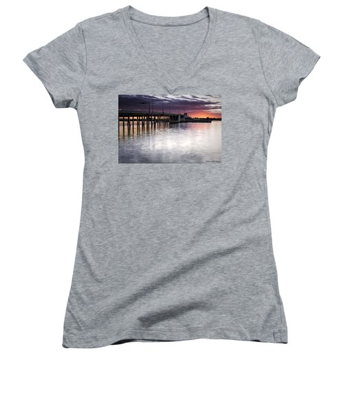 Drawbridge At Sunset Women's V-Neck T-Shirt
