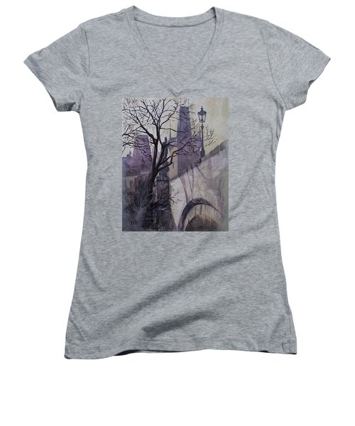 Women's V-Neck T-Shirt (Junior Cut) featuring the painting Dusk At The Charles Bridge by Marina Gnetetsky