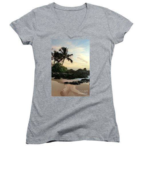 Edge Of The Sea Women's V-Neck T-Shirt (Junior Cut) by Sharon Mau