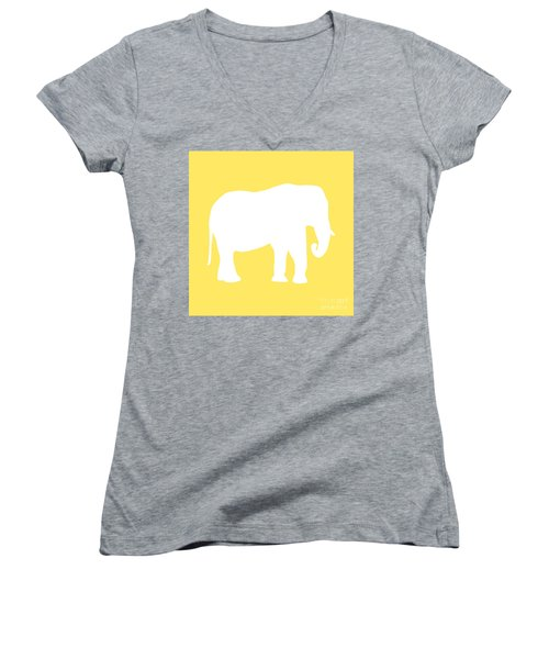 Elephant In Yellow And White Women's V-Neck T-Shirt