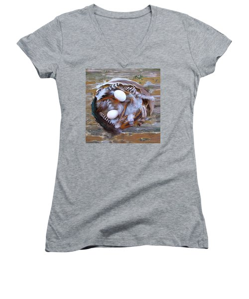 1. Feather Wreath Example Women's V-Neck