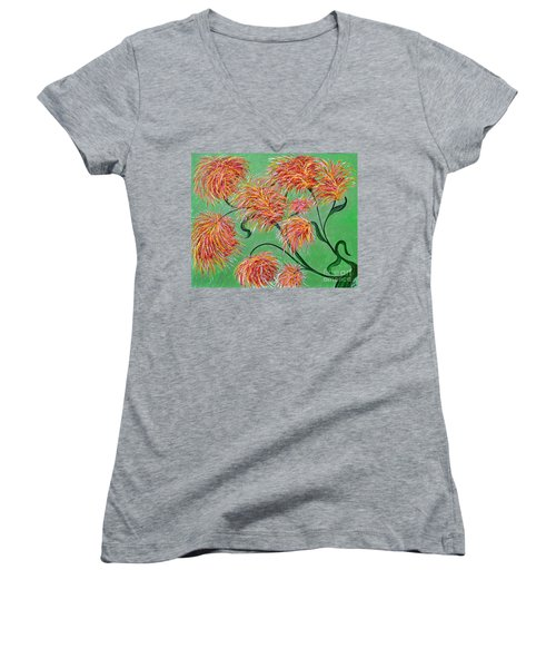 Women's V-Neck T-Shirt (Junior Cut) featuring the painting Fireworks by Alys Caviness-Gober
