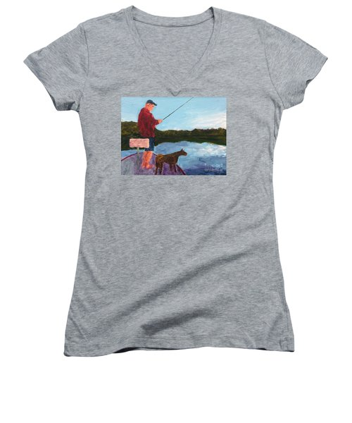 Women's V-Neck T-Shirt (Junior Cut) featuring the painting Fishing by Donald J Ryker III