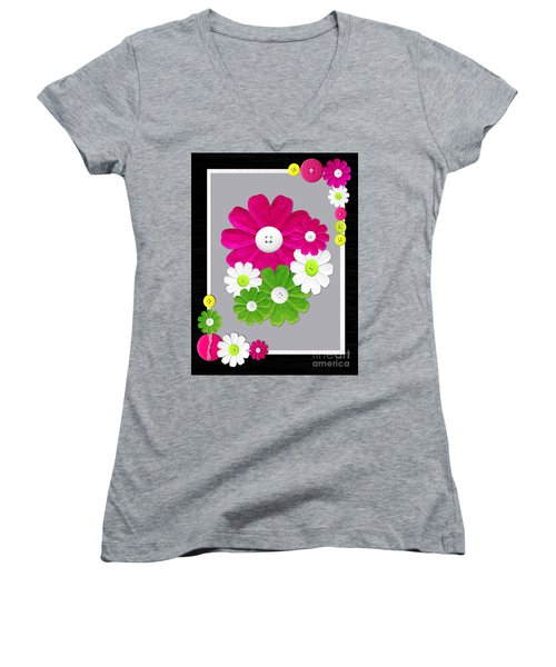 Women's V-Neck T-Shirt (Junior Cut) featuring the photograph  Delightful Florals by Tina M Wenger