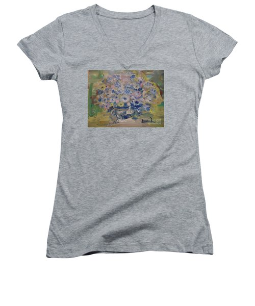 Flow Bleu Women's V-Neck T-Shirt (Junior Cut) by Laurie L