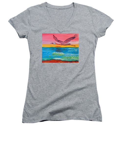 Women's V-Neck T-Shirt (Junior Cut) featuring the painting Flying Free by Meryl Goudey