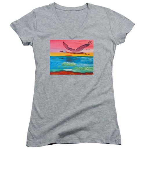 Flying Free Women's V-Neck T-Shirt