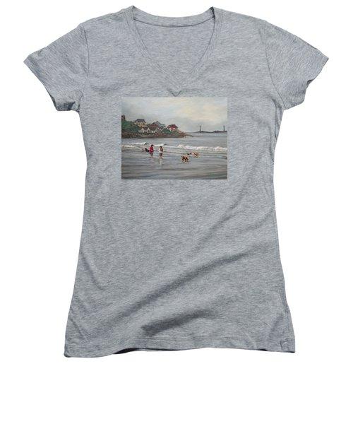 Fog Rolling In On Good Harbor Beach Women's V-Neck T-Shirt