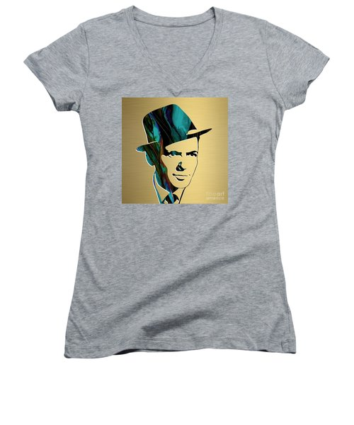 Women's V-Neck T-Shirt (Junior Cut) featuring the mixed media Frank Sinatra Gold Series by Marvin Blaine
