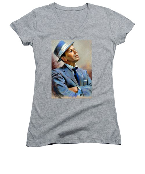 Frank Sinatra  Women's V-Neck T-Shirt (Junior Cut)