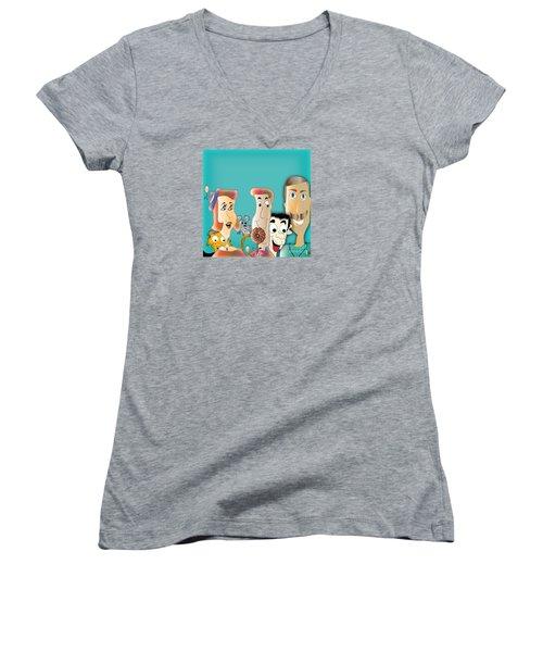 Women's V-Neck T-Shirt (Junior Cut) featuring the digital art Friendship by Iris Gelbart