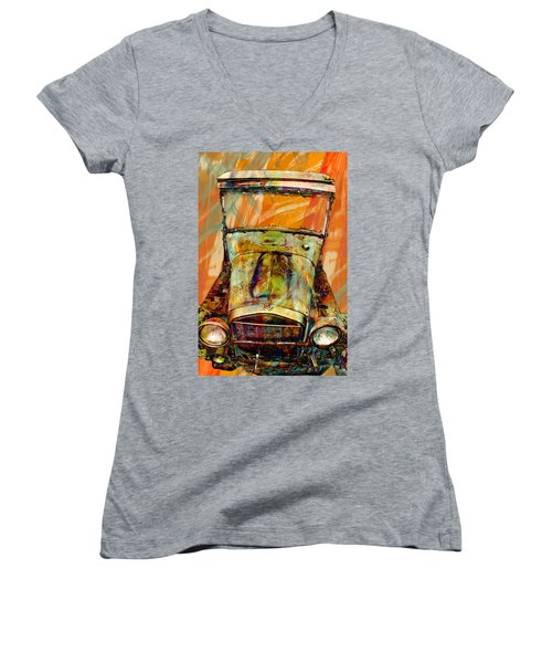Women's V-Neck T-Shirt (Junior Cut) featuring the mixed media Ghost Of 1929 by Aaron Berg