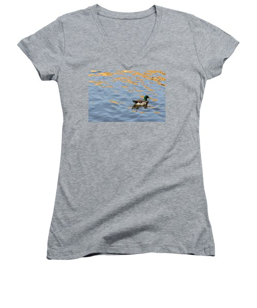 Women's V-Neck T-Shirt (Junior Cut) featuring the photograph Golden Ripples by Keith Armstrong
