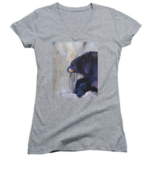 Grandfather Bear Women's V-Neck T-Shirt (Junior Cut) by J W Baker