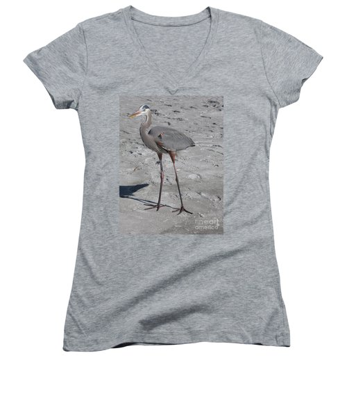 Women's V-Neck T-Shirt (Junior Cut) featuring the photograph Great Blue Heron On The Beach by Christiane Schulze Art And Photography