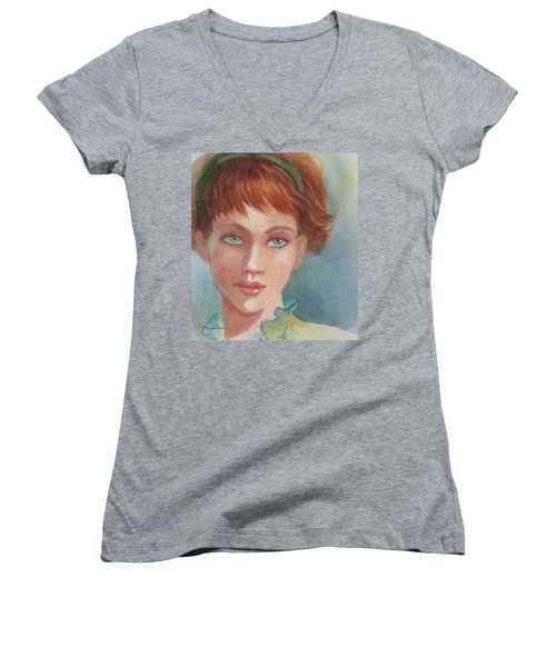 Women's V-Neck T-Shirt (Junior Cut) featuring the painting Green Eyes by Marilyn Jacobson