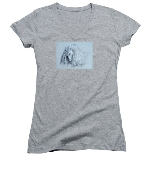 Grey Horse Women's V-Neck T-Shirt