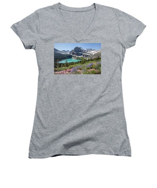 Grinnell Lake Flowers Women's V-Neck (Athletic Fit)