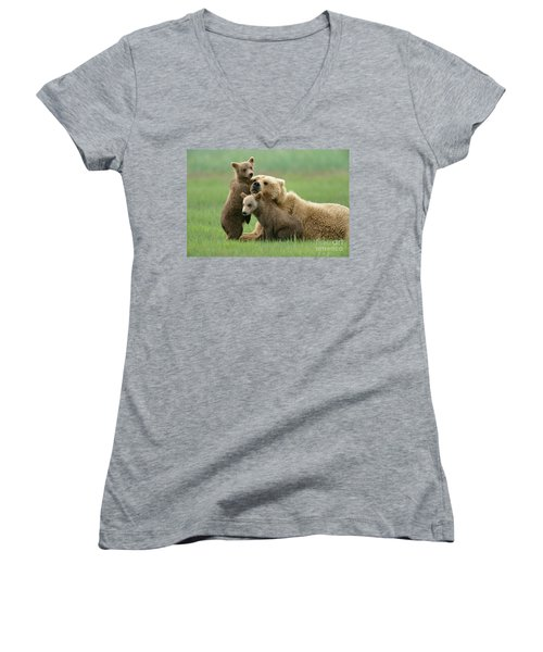 Grizzly Cubs Play With Mom Women's V-Neck
