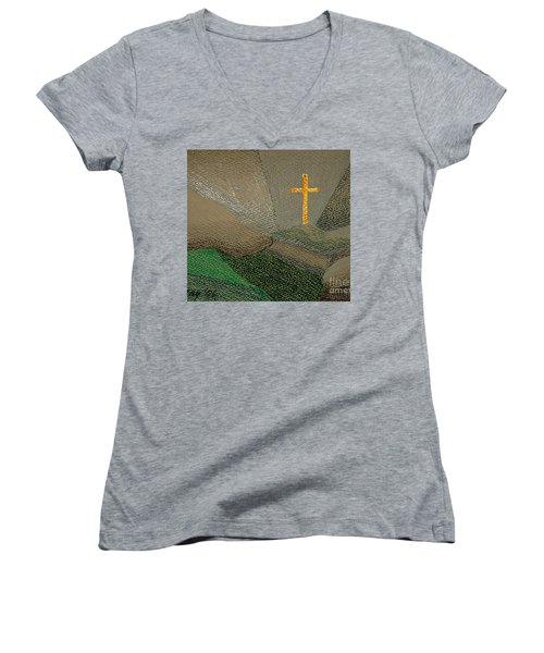 Depression And The Saviour Women's V-Neck T-Shirt (Junior Cut) by Rod Ismay