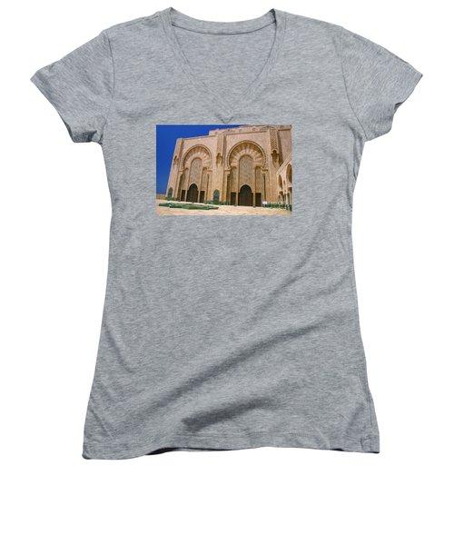 Women's V-Neck T-Shirt (Junior Cut) featuring the photograph Hassan II Mosque Grand Mosque Sour Jdid Casablanca Morocco by Ralph A  Ledergerber-Photography