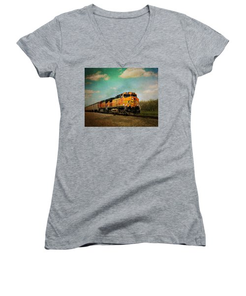 Hear The Train A Coming Women's V-Neck