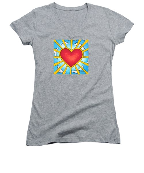 Heart Shine Women's V-Neck (Athletic Fit)