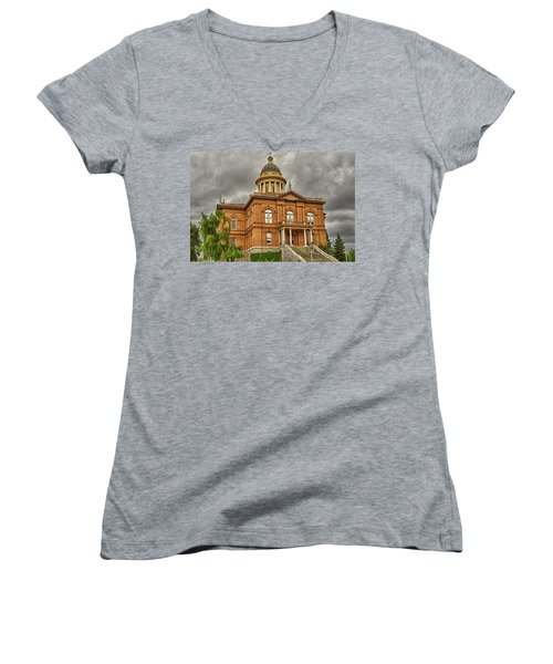Historic Placer County Courthouse Women's V-Neck T-Shirt (Junior Cut) by Jim Thompson