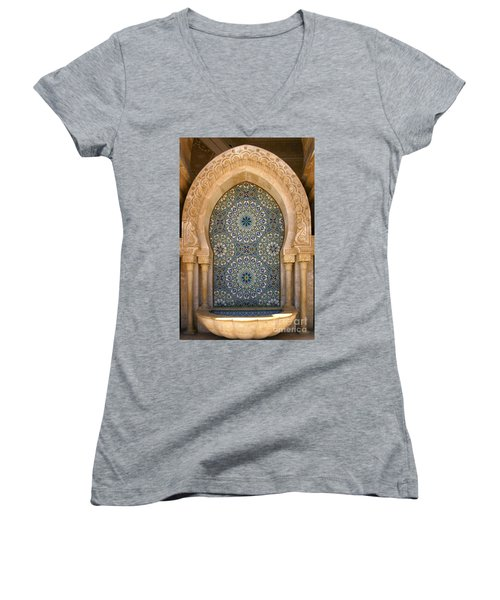 Women's V-Neck T-Shirt (Junior Cut) featuring the photograph Holy Water Fountain Hassan II Mosque Sour Jdid Casablanca Morocco  by Ralph A  Ledergerber-Photography