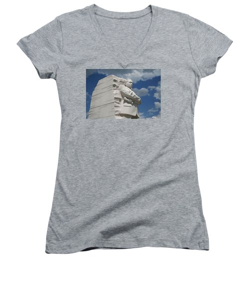 Women's V-Neck T-Shirt (Junior Cut) featuring the photograph Honoring Martin Luther King by Cora Wandel