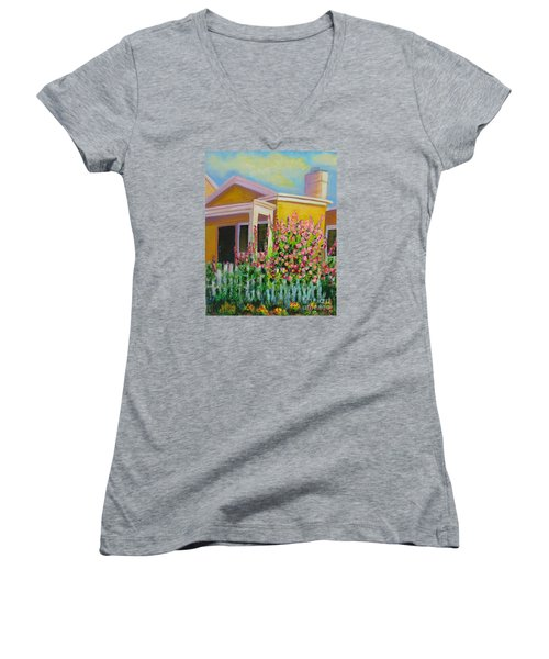 Hot Hollyhocks Women's V-Neck
