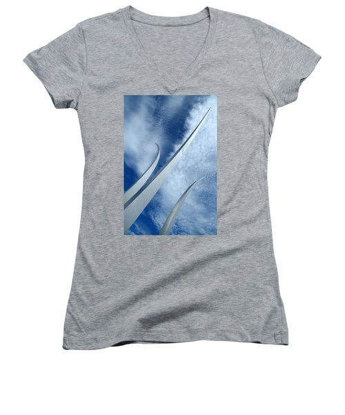 Women's V-Neck T-Shirt (Junior Cut) featuring the photograph Into The Clouds by Cora Wandel