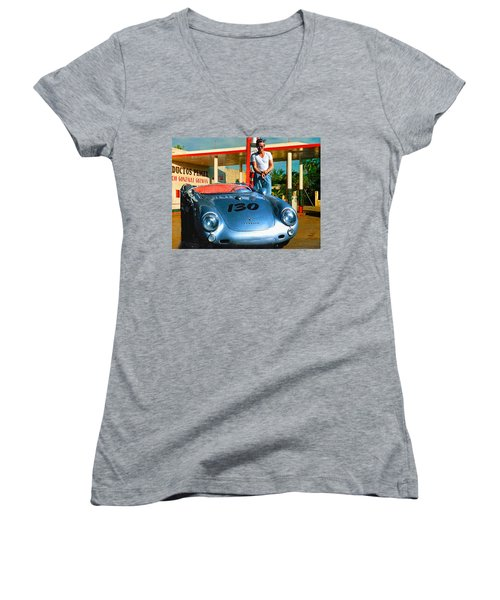 James Dean Filling His Spyder With Gas Women's V-Neck T-Shirt (Junior Cut) by Doc Braham