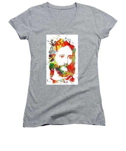 Jesus Christ - Watercolor Women's V-Neck T-Shirt (Junior Cut) by Doc Braham